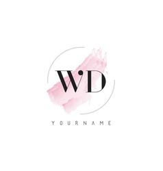Wd w d watercolor letter logo design vector
