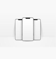 White realistic smartphones mockup 3d mobile vector