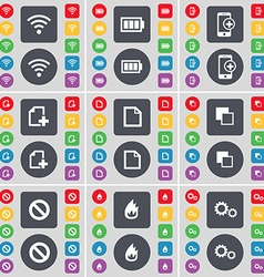 Wi-Fi Battery Smartphone File Copy Stop Fire Gear vector image