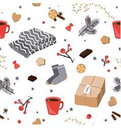 winter and christmas items seamless pattern hygge vector image