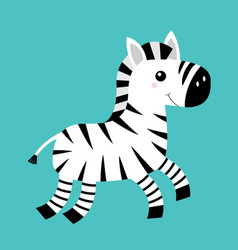 zebra icon black striped horse jumping notebook vector image