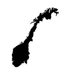 black silhouette country borders map of norway on vector image