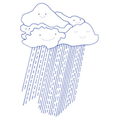 cartoon funny clouds and rain with smiling faces vector image vector image