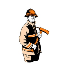 fireman fire fighter holding an ax vector image vector image