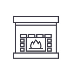 fireplacehearth line icon sign vector image
