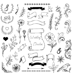 Hand Drawn Doodle Ampersands Curves Book Corners vector image