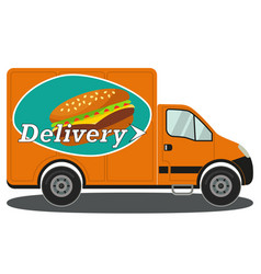 orange delivery truck side view burger poster vector image vector image
