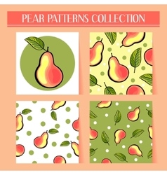 Seamless hand drawn pear patterns set vector image
