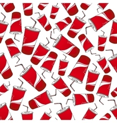 Soda beverages red paper cups seamless pattern vector image vector image