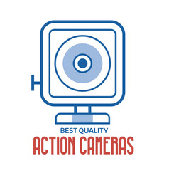 action camera line logo or label template vector image vector image