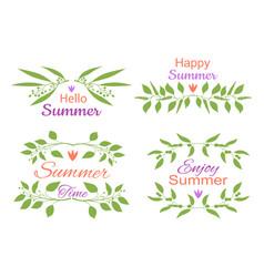 elegant floral decorative elements set with summer vector image vector image