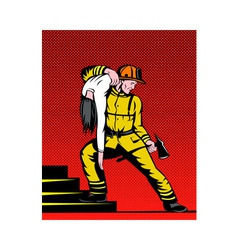 fireman fire fighter carrying rescuing woman vector image vector image