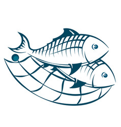 fish in the network silhouette vector image vector image
