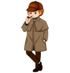 Man in brown jacket with smoking pipe vector