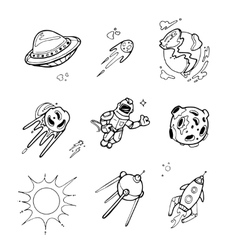 Planets rockets spaceships ufo stars vector image vector image