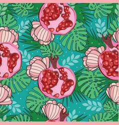 seamless pattern with exotic pomegranate palm vector image