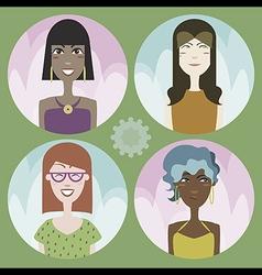 Set of four cartoon avatars - girls 01 vector image vector image