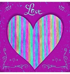 Valentines card with heart made of hand drawn on vector image