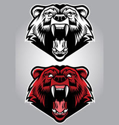 Angry grizzly bear mascot vector