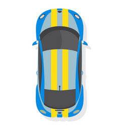 Blue and yellow sport car top view in flat style vector