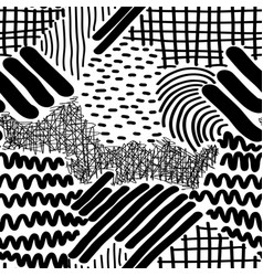complex hand drawn stripes and dots vector image