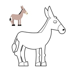 Donkey coloring book circuit animal childrens vector