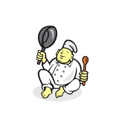 Fat Buddha Chef Cook Sitting Cartoon vector image vector image