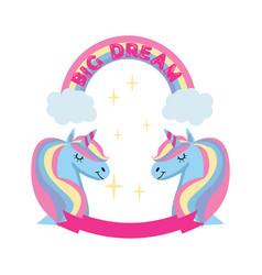 magic unicorn and rainbow poster greeting card vector image
