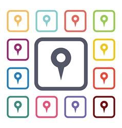 map pin flat icons set vector image