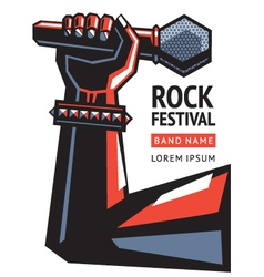 rock poster with a microphone vector image