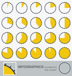 Set of the segmented circular charts with notches vector image vector image