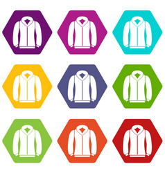 sweatshirt icon set color hexahedron vector image
