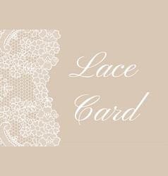 beige lace border card vector image