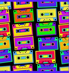 bright colorful retro cassette seamless pattern vector image