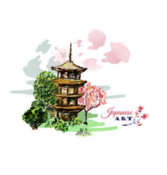 card or poster with asia landscape building and vector image vector image
