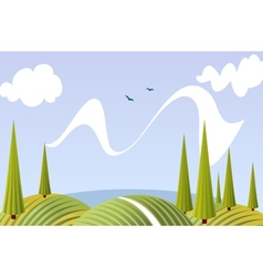 Cartoon summer fields and meadows landscape vector image vector image