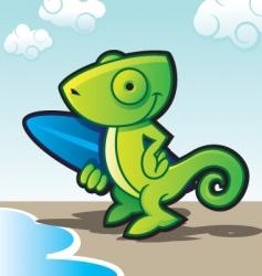 chameleon surfer vector image vector image