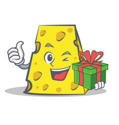 Cheese character cartoon style with gift vector