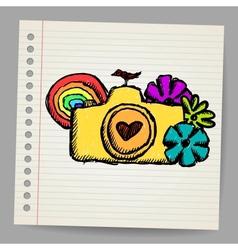 Hand drawn doodle digital camera vector image vector image