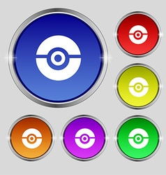 pokeball icon sign Round symbol on bright vector image vector image