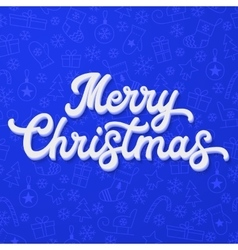 Xmas 3d lettering on blue Christmas background vector image