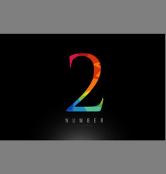 2 number rainbow colored logo company icon design vector image