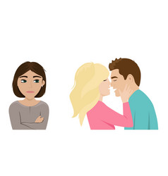 a lonely girl is jealous a couple in love vector image