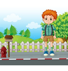 A tall man standing at the street vector image