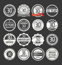 Anniversary retro labels 30 years collection 1 vector