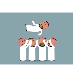 Arab businessmen throwing leader up vector image