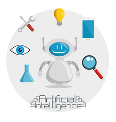 Artificial inteligence technology set icons vector