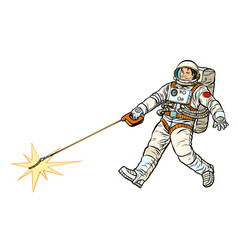 Astronaut and pet star isolate on white vector