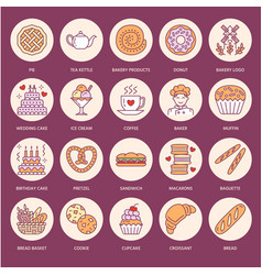 Bakery confectionery flat line icons sweet shop vector