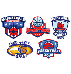 Basketball badge design set vector